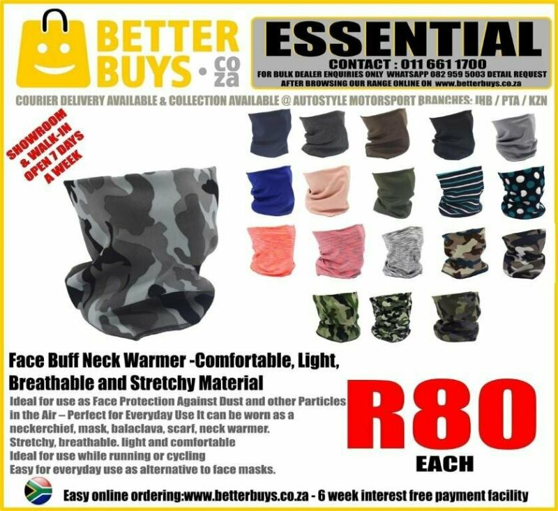 Face Buff Neck Warmer -Comfortable, Light, Breathable and Stretchy Material R80.each  Ideal for use