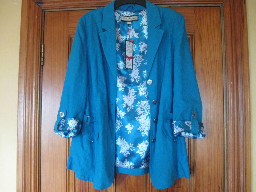 Paco Boutique Collection Bleu Dressy Linen Blazer Taille L Neuf Avec étiquettes