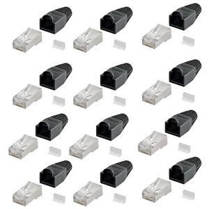 100x-RJ45-Netzwerkstecker-geschirmt-Tuelle-Crimpstecker-8P8C-Cat-5e-6-7-Schwarz