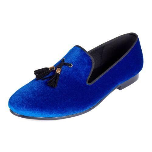 Harpelunde Tassel Men Loafer Shoes Blue Velvet Slippers Handmade Flats Size 6-14