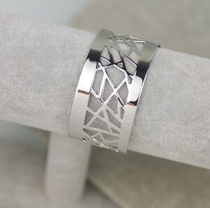 Nice-lia-sophia-signed-jewelry-silver-plated-polish-wide-cuff-bracelet-Bangle