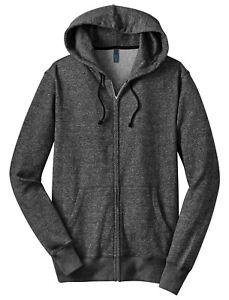 District-Young-Men-039-s-Marled-Fleece-Full-Zip-Hoodie-DT192-Medium-Marled-Black