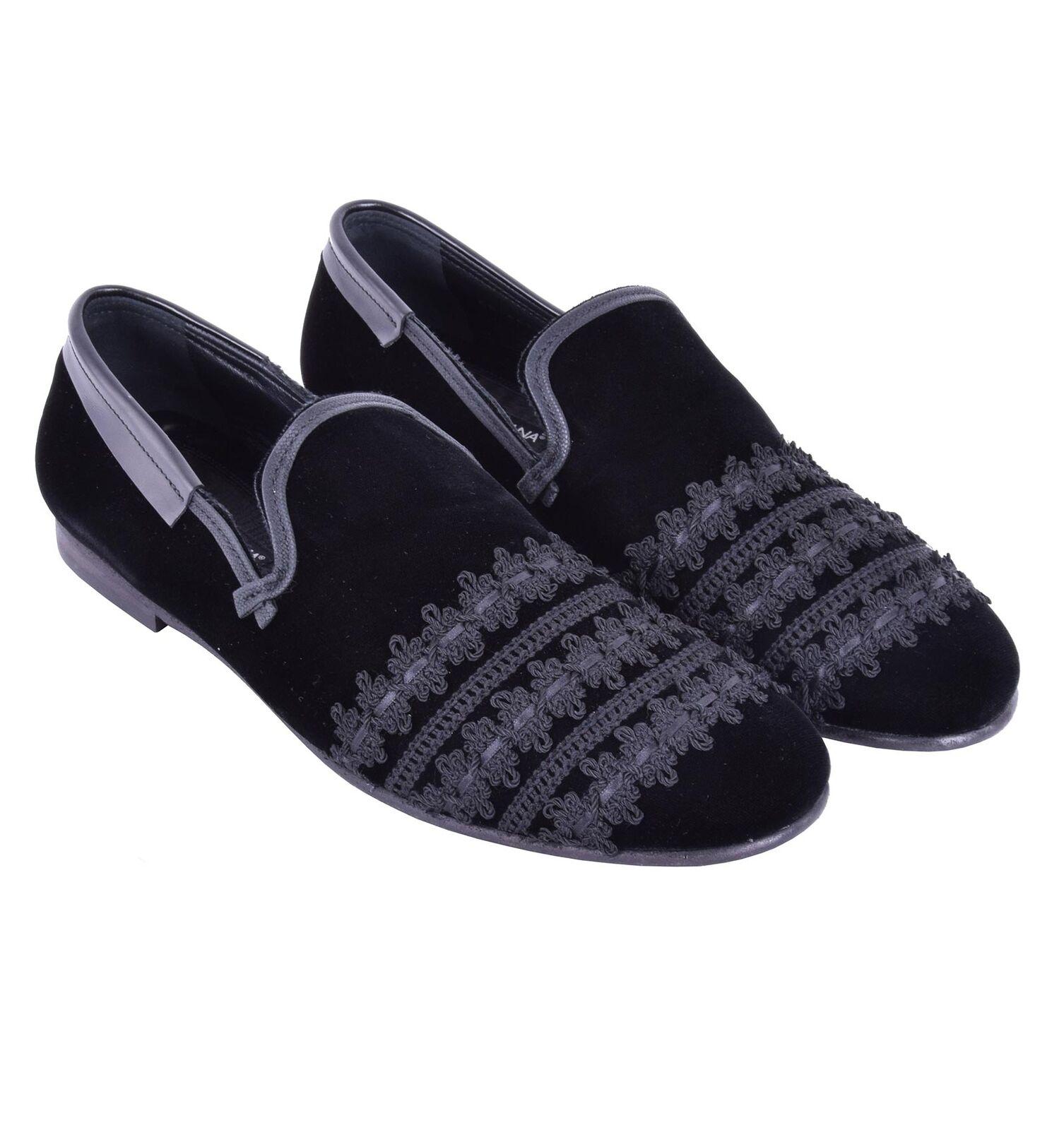 DOLCE Slipper & GABBANA RUNWAY Samt Slipper DOLCE Schuhe AMALFI mit Stickerei Schwarz 05172a 1c93cb