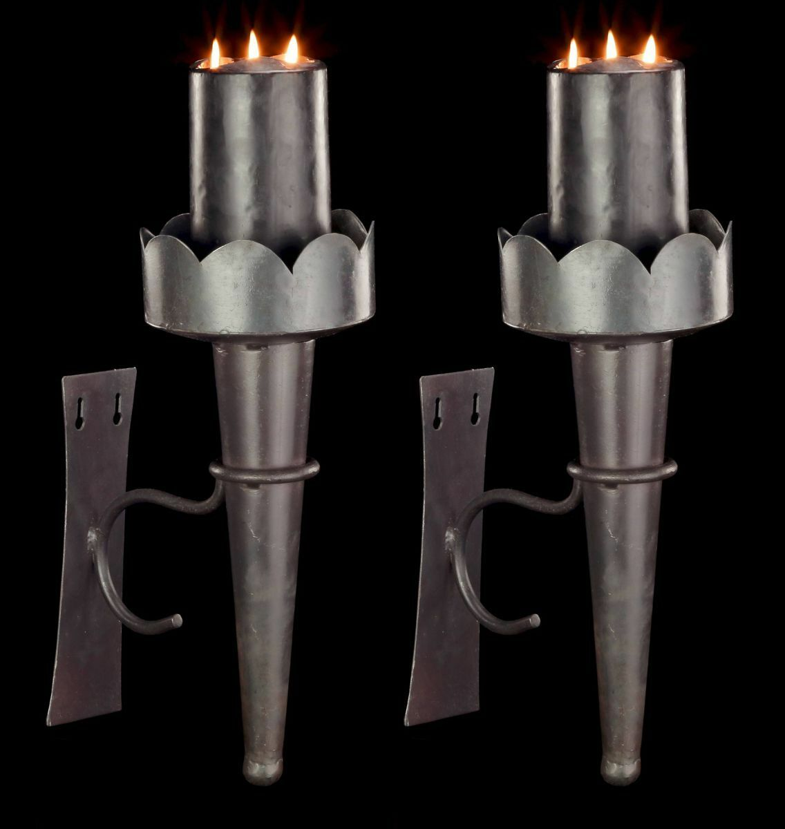 Médiévale liseuses en métal 2er set-BOUGEOIRS mur torche