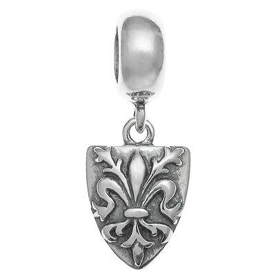 Black Bow Jewelry Sterling Silver Antiqued Fleur de lis Dangle Bead Charm