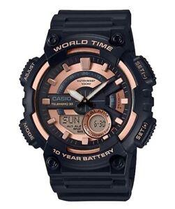 Casio-Men-039-s-Quartz-Telememo-Black-amp-Rose-Gold-Tone-Resin-47mm-Watch-AEQ110W-1A3V