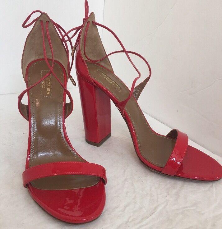 Aquazzura Shoe Rosso Patent Lily 105 Block Heel  Strappy Size 40 New