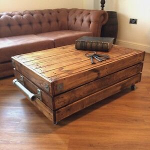Large Reclaimed Wooden Rustic Vintage Industrial Waxed Shabby Chic Coffee Table Ebay