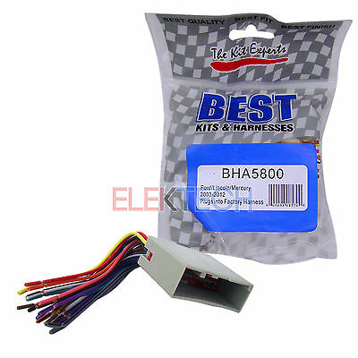 BHA5800 Aftermarket Radio Replacement Installation Harness for Ford on
