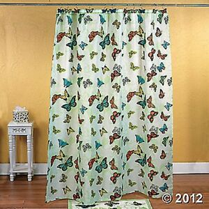 Butterfly Shower Curtain Green Colorful Bathroom Decor 12 Butterfly Shaped Hooks Ebay