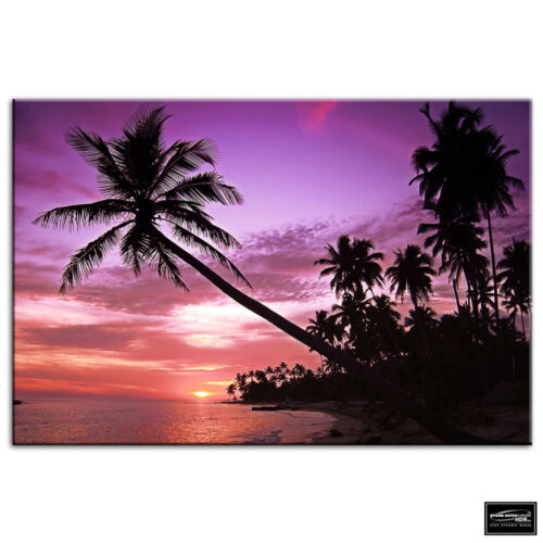 Palm Beach   Sunset Seascape BOX FRAMED CANVAS ART Picture HDR 280gsm
