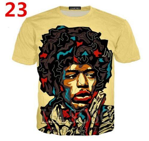 Newest Fashion Women//Men/'s 3D Print  Jimi Hendrix  T-Shirts   J01