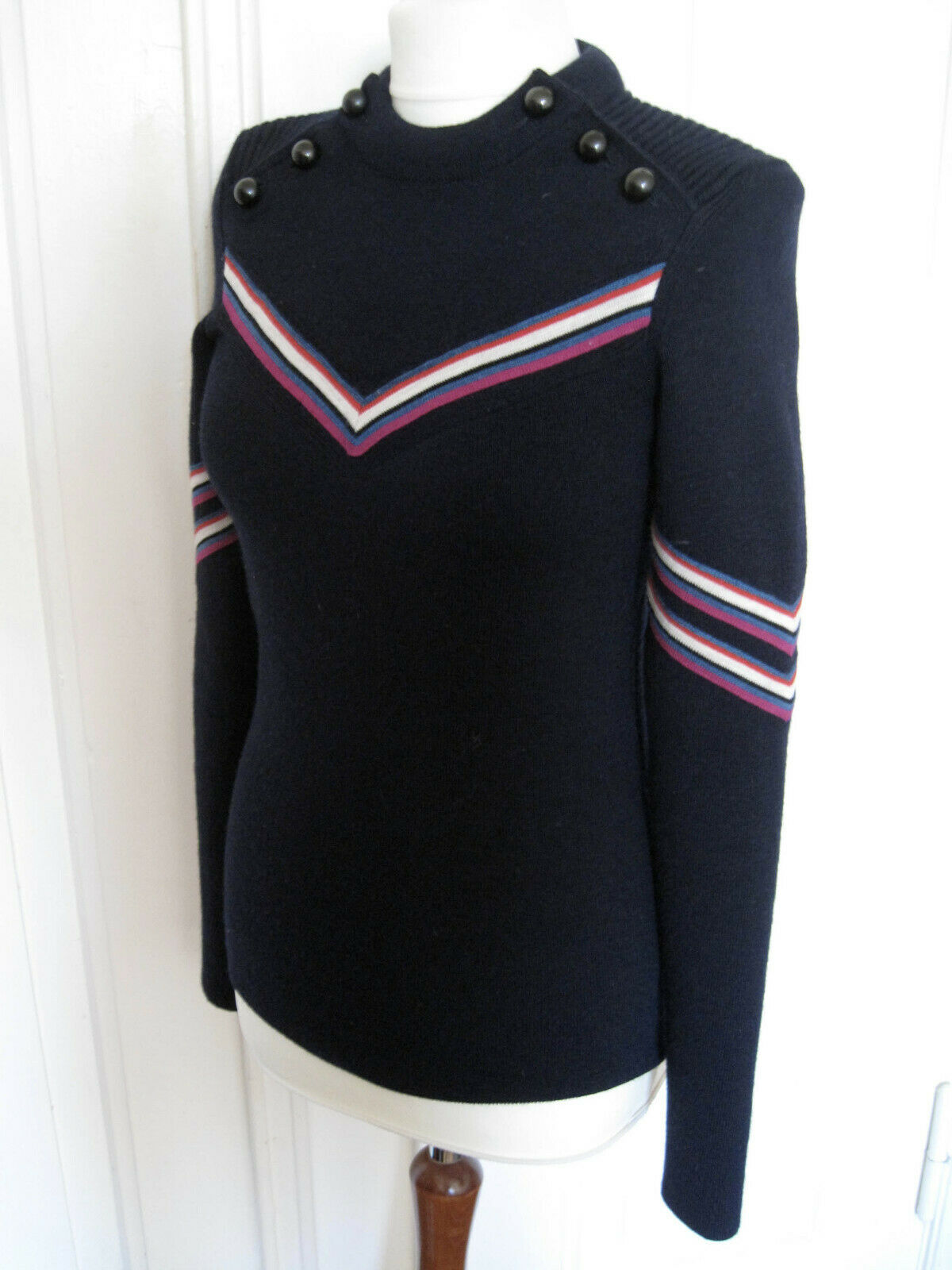 AUTH ISABEL MARANT ALISON WOOL WOOL WOOL SWEATER NAVY FR 34 XS  FAGAN blueE  51987a