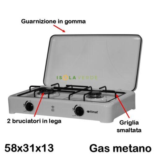 FORNELLO 2 FUOCHI CUCINA GAS METANO ALTA QUALITA/' CM P31 x L58 x H13 CAMPEGGIO