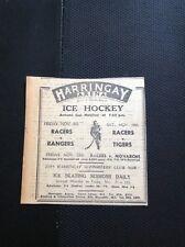 m1-5 ephemera 1949 Advert Harringay Arena Ice Hockey Racers V Rangers