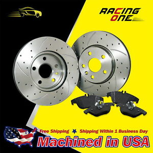 UL-330mm-Front-Drilled-Slotted-Rotor-amp-Metallic-Pad-For-2WD-4WD-4X4-Chevy-GMC