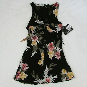 Women-039-s-Volcom-Mini-Summer-Dress-Black-with-Floral-Print-Size-Small