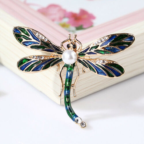 Vintage Dama Cristal Libélula ocurrió Pin Animal encantador Joyería Bufanda GIF Ge