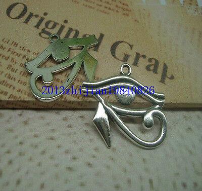5-100pcs Bronze/silver Egyptian Eye of Horus / Ra Amulet Pendant Chain Necklace