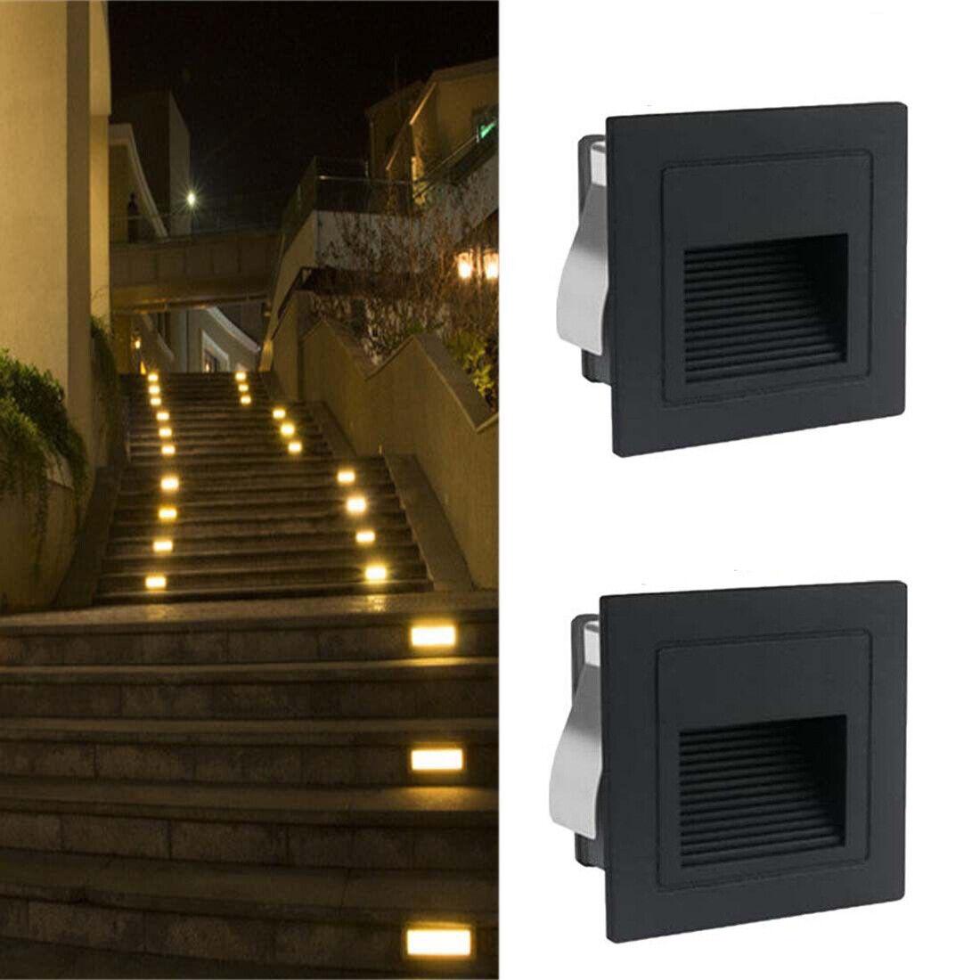 1-10er Set LED Wandeinbauleuchte Treppenlicht Stufenlicht 230V schwarz aussen