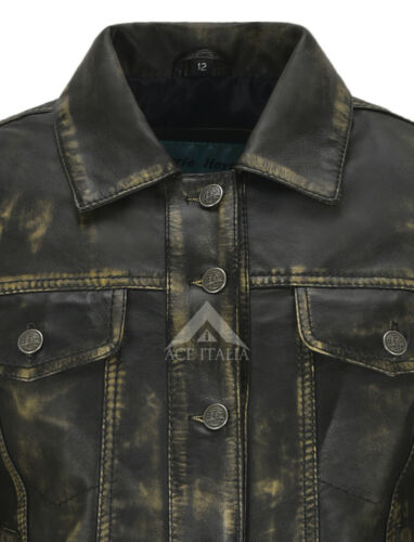 Women/'s TRUCKER Real Leather Jacket Vintage Washed Leather Shirt Jacket 1680
