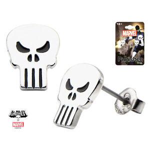 Inox-Stainless-Steel-Punisher-Skull-Stud-Earrings-Marvel-Comics