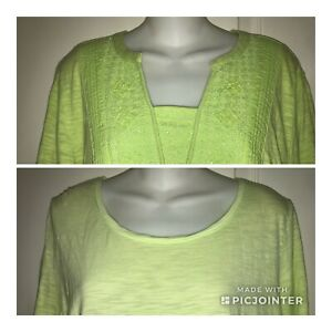 Chico-039-s-Lot-of-2-Knit-Tops-T-Shirts-Cotton-Blend-3-4-Sleeve-Apple-Green-Size-2