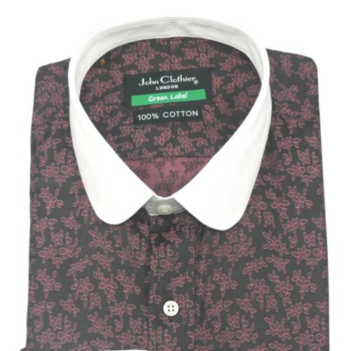 Peaky Blinders Mens Penny Collar shirt Maroon floral jacquard Club Round Shelby