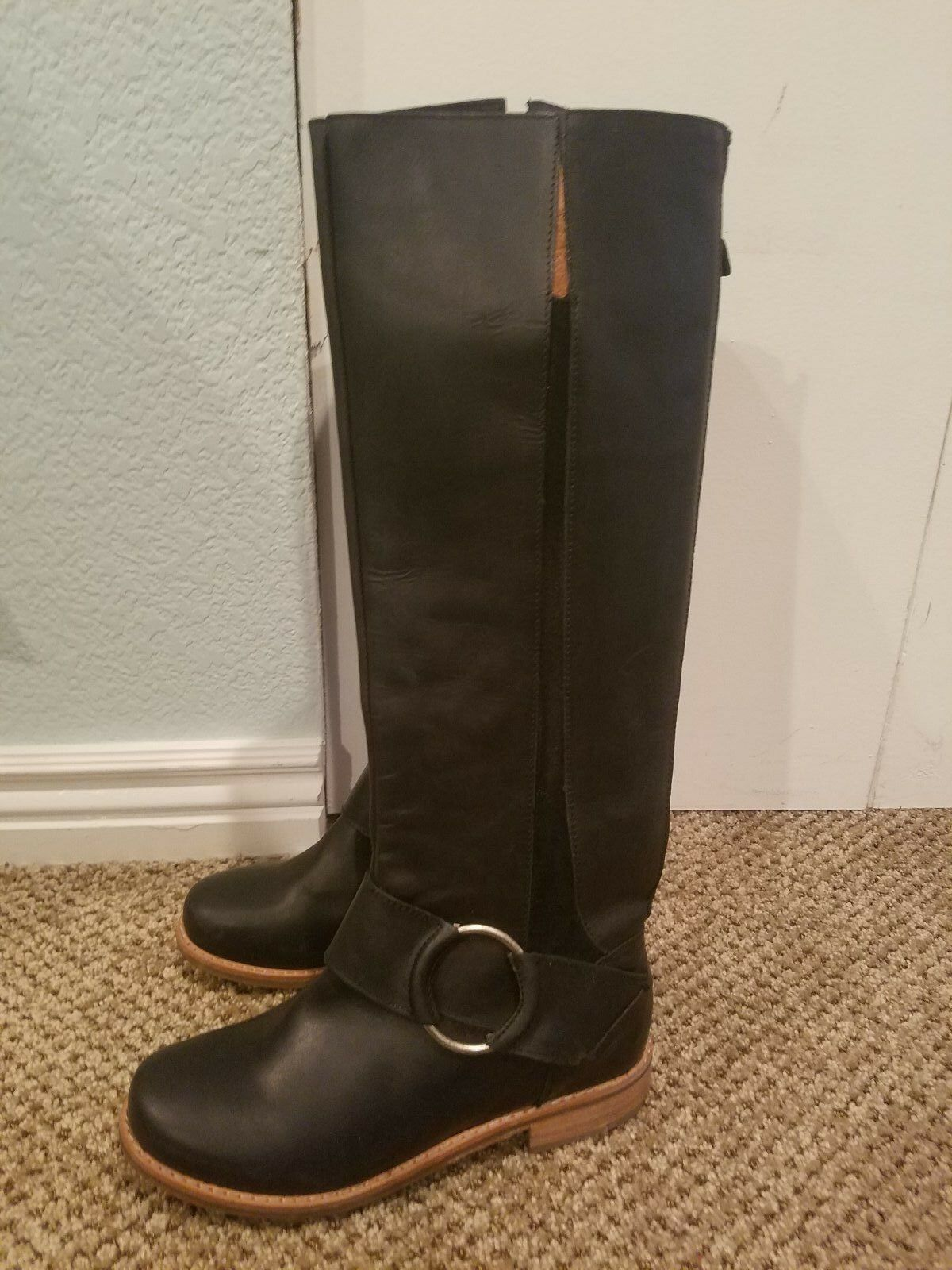 330 OLUKAI 'Holo Lio' Boot Boot Boot Sculptural leather insets Riding Black Leather sz 5 5b1391