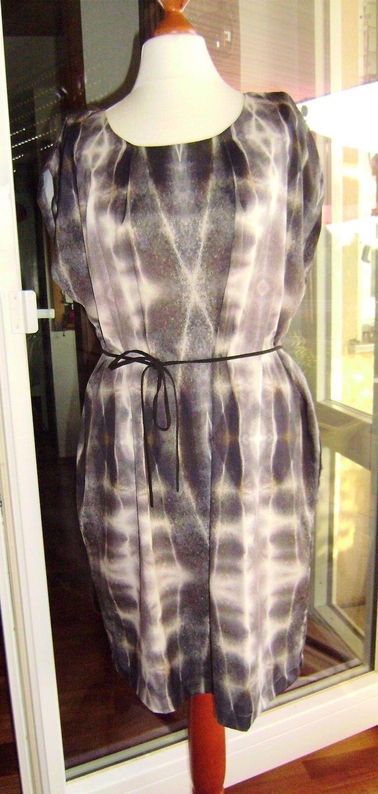 Kleid Designer Impressionen Grautöne Beige Taupe Gr. M kastiger Schnitt