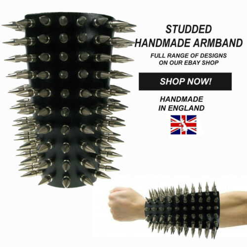 Gothic Handmade in England Studded Adjustable Strap 100/% Genuine Leather