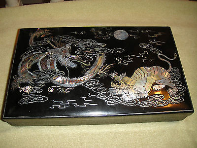 Superb Japanese Or Chinese Vanity Box-Inlay Dragons & Tiger Fghting-Detailed