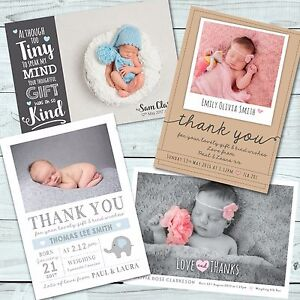 personalised new baby thank you cards announcement inc envelopes