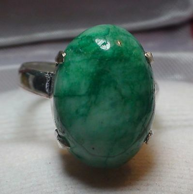 BIG! 16.90 ct NATURAL CABOCHON GREEN EMERALD RING 925 STERLING SILVER.SIZE 6.75.