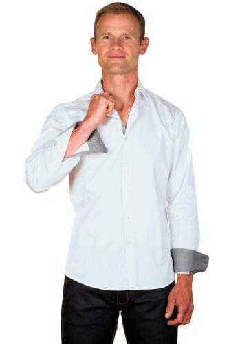 Chemise Homme Coton Blanche Galon Gris Coupe Ajustée Manches Longues Ugholin