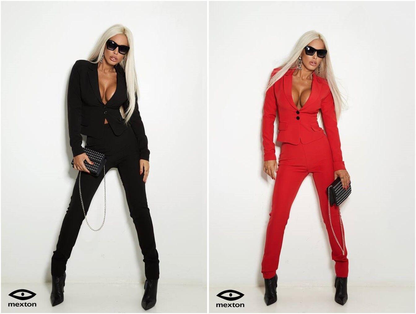 d5385befc11d Mexton Donna 2 divisori Blaser con Pantaloni Pantaloni Pantaloni  completamente rosso o nero 34