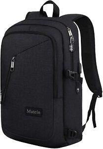 """Matein Men's Black 15.6"""" Slim Laptop Backpack Business Travel Bag USB Charging"""