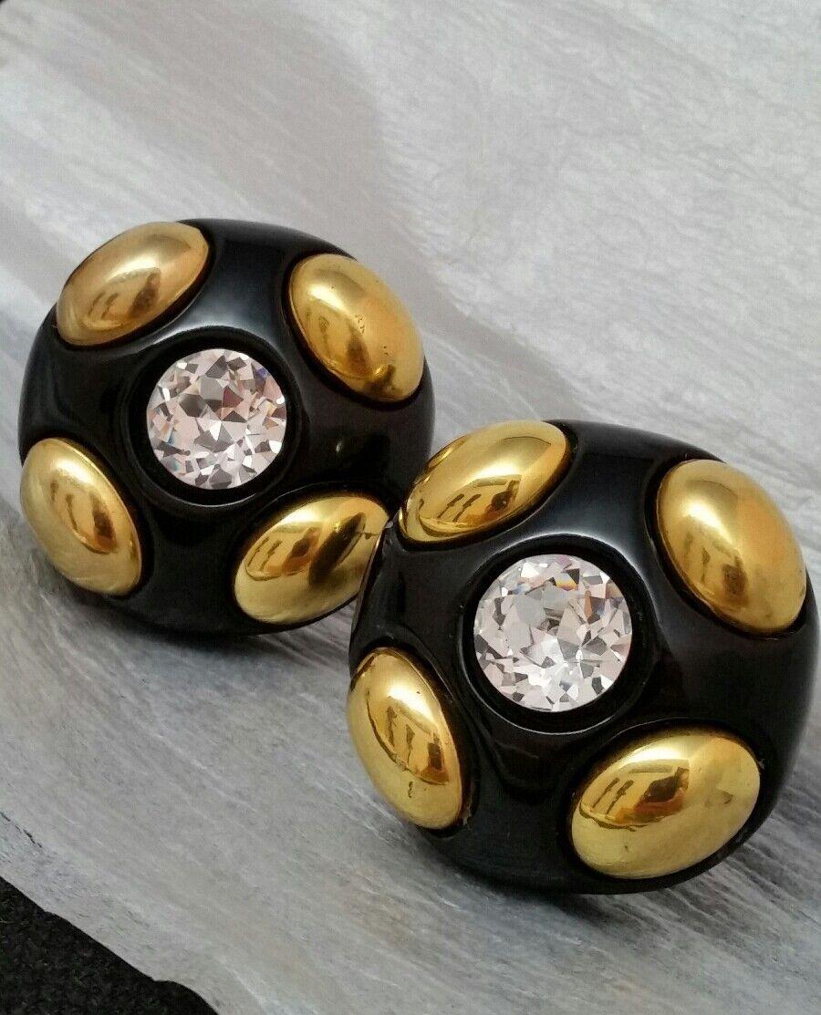 Vintage Oversized Jewellians Black Rhinestone Cli… - image 3
