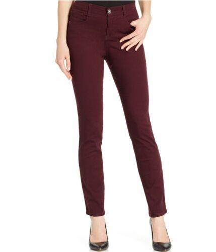 Style /& Co Womens Slim Leg Tummy-Control High Rise Jeans Red Terracota Sz 4P
