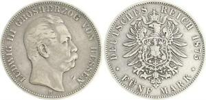5 Mark Silver 1875 H Hesse Ludwig Iii. Almost Very Fine