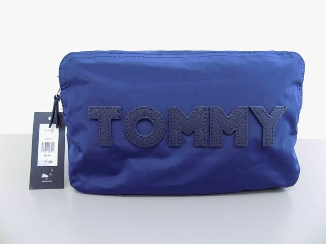 3a55fbf023f0 Tommy Hilfiger Large Nylon Logo Pouch Travel Cosmetic Bag Navy Silver