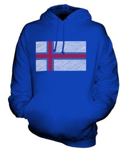 FAROE ISLAND SCRIBBLE FLAG UNISEX HOODIE TOP GIFT FØROYAR FÆRØERNE