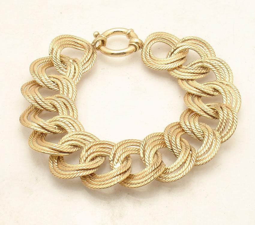 8  Bellezza Bold Textured Multi Circle Link Bracelet Solid Yellow Bronze