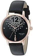 Kate Spade Women's KSW1014 'Metro' Champagne Crystal Black Leather Watch