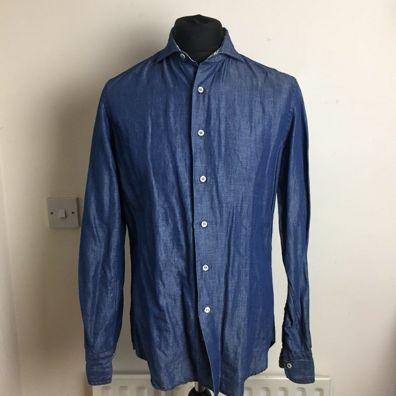 Denim looks men's shirt Cotton Linen size 41 16
