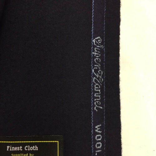 CHARLES CLAYTON Navy Super 140/'s Wool /& Cashmere flannel Suit Fabric.