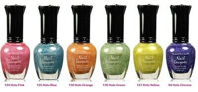 kleancolor Holo Nail Polish Lacquer-Lot of 6 Colors Set