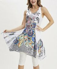#396 Ladies Designer UK 14 Black & Blue Abstract Summer Sleeveless Tunic Dress