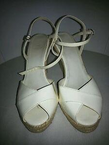 40 à crème Uk 7 à pointus Eu compensées femme Ankle sandales Zara bouts semelles Chaussures xwSX7w0Oq4