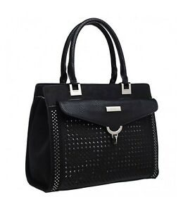 Bessie London Large laser cut effect Tote bag with snake print handles and trim